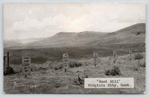Virginia City Montana~Boot Hill~Cemetery~Frank Parish~Jack Galliger~1950s RPPC