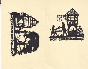 Germany Two Silhoutte Cards Scherenschnitt U.M. Schwindt