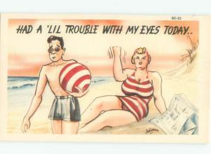 Linen Risque MAN MISTAKES TOP OF BATHING SUIT FOR BEACH BALL AC6879@