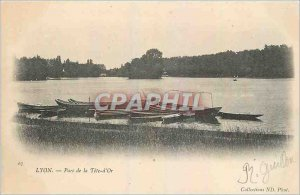 Old Postcard Lyon Park Boat Tete d'Or