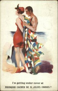 Bathing Beauty Woman Handsome Man Colorful Robe on Beach Psotcard