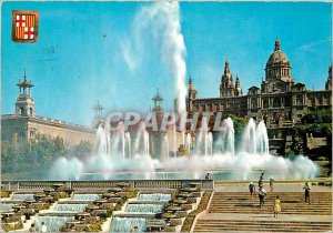 Postcard Modern Barcelona Monumental Fountain and National Palace of Montjuic