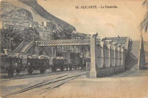 Alicante Spain La Pasarela Bridge Train Antique Postcard  J69352