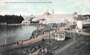 View from Water Chute, New Zealand Exhibition, 1906 Postcard, Used