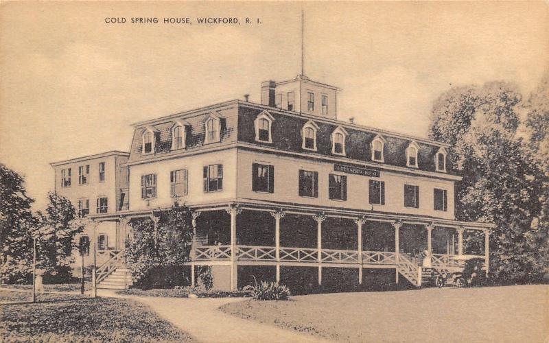 Wickford Rhode Island~Cold Spring House~Hotel~1930s Sepia Postcard
