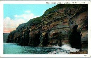 Seven Caves at La Jolla California Postcard