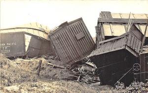 St Albans VT Railroad Train Wreck Box Cars RPPC Postcard
