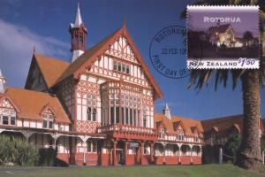 Bathhouse Rotorua Stamp Malthouse New Zealand Postcard First Day Cover