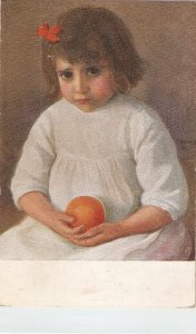 E.Hermoso. Lovely little girl with an orange Pine painting, vintage SpaNIsh P