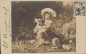 Salon 1903 E. Muraton Au jardin girl hat feather dog