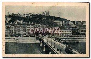 Postcard Old Lyon Pont Tilsitt Cathedrale St Jean the hillside Fourvriere