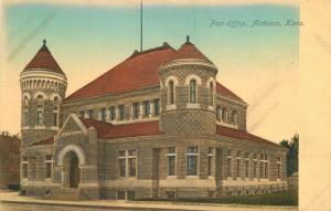 Atchinson Kansas C-1910 Post Office Lantz hand colored postcard 9770