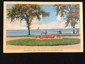 Mid-1900s Breakwater Light from Seaside Park, Bridgeport, CT postcard