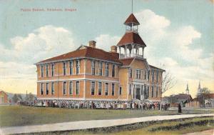 Hillsboro Oregon Public School Street View Antique Postcard K32300