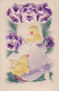EASTER; Embossed, Greetings, Chicks Egg Shell, Pansy Flowers, Sealed Envelo...