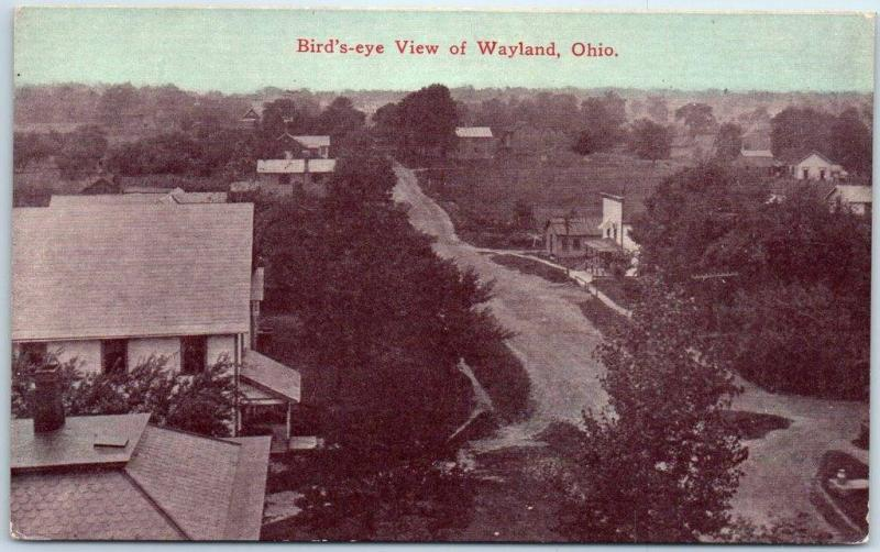 Wayland, Ohio Postcard Bird's-Eye View Downtown Main Street 1917 Cancel