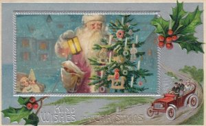 CHRISTMAS, 1900-10s ; Santa Claus carrying Tree