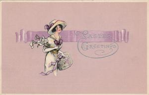 EASTER : Woman with hat box and flowers , 00-10s