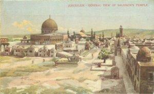 Jerusalem general view of Salomon Temple mosque artist postcard