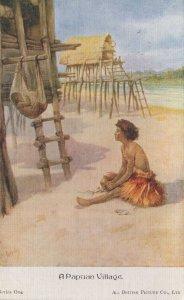 A Papuan Village Antique Linen Postcard