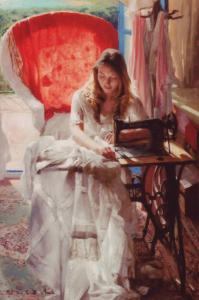 WOMAN & SEWING MACHINE Dress seamstress Shawl SEW ART ~ MODERN POSTCARD
