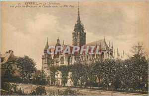 Old Postcard Evreux La Cathedrale view from the Boulevard Chambaudoin