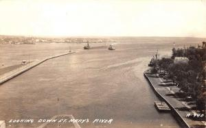 St Marys River Michigan Looking Down Real Photo Antique Postcard K92796