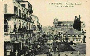 Lebanon Beyrouth Place des Canons et Rue de la Charite Street Cars Postcard