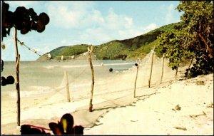 Fisherman's Nets Hanging on British Virgin Island Beach Postcard c1968