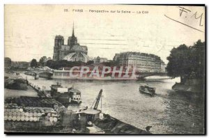 Old Postcard Perspective Paris on the Seine La Cite Notre Dame