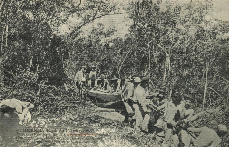 brazil, AMAZONS, Conveyance of Boats across the Virgin Forest (1910s)