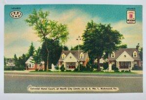 Colonial Hotel Court Motel Postcard Richmond VA US 1 1940s Street Cottages Linen