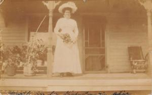 Sheridan WY Myrtle in Graduation Attire~Lucy Waits for Chester Letter RPPC 1909