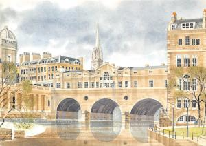 Pulteney Bridge Bath, Reproduced from a Watercolour Painting