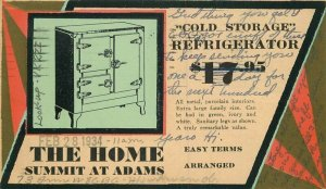 Advertising Ice Box Toledo Ohio 1934 The Home Summit Postcard Artist 21-1215