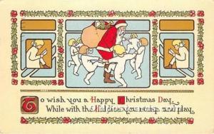 Santa Claus Postcard Old Vintage Christmas Post Card 1916 Missing Stamp