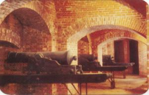 Interior of Casemate Tunnels, Old Fort Niagara, 24 pounder howitzer guns