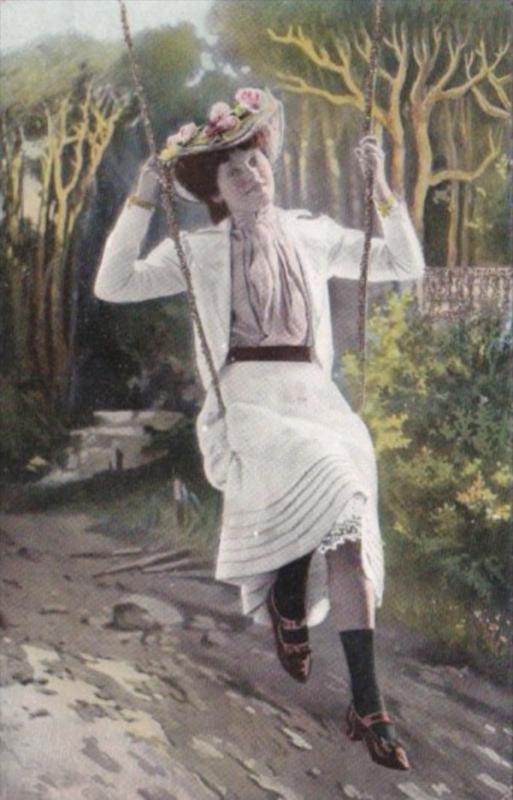Beautiful Lady On Swing