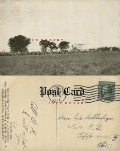 1911 Simms Station Ohio PC: Wright Trainer Biplane Landing Scares Photographer!