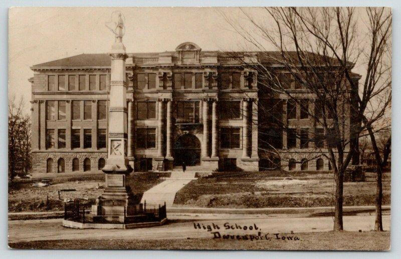 Davenport Iowa~Civil War Monument Honors Dead~Navy Anchor~High School~RPPC c1910