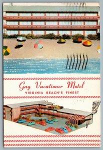 Postcard Virginia Beach VA c1958 Gay Vacationer Motel Ocean Front Dual View