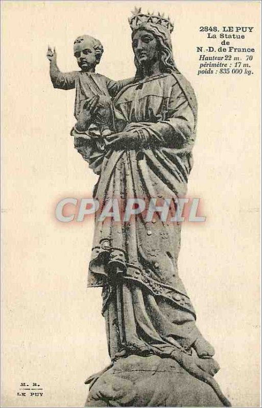Old Postcard Le Puy Statue of Our Lady of France