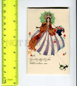 275584 ART DECO Lady TOY TERRIER Adina SAND miniature card