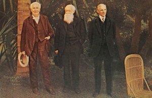 Thomas Edison John Burroughs Henry Ford Seminole Lodge Ft Myers Vintage Postcard