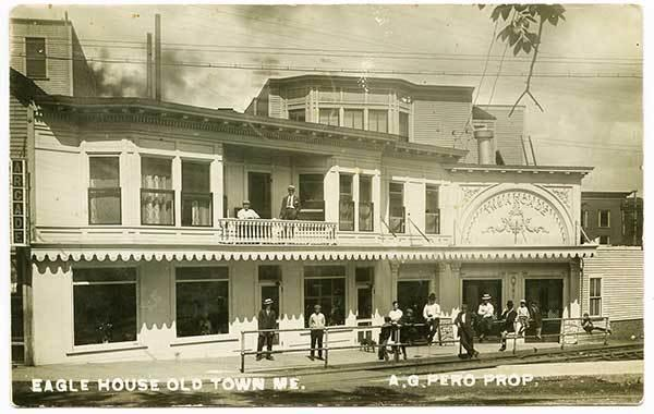Old Town ME Eagle House Arcade Rare RPPC Real Photo Postcard