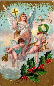 Joyful Christmas - Embossed Postcard Angel Cherubs Holly Bell Shooting Star