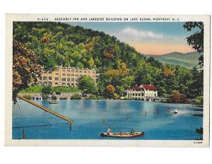 Assembly Inn and Lakeside Building Canoe on Lake Susan  Montreat North Carolina