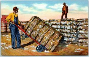 Black Americana Postcard Bales of Cotton Ready for Shipment Linen c1940s