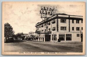 Paso Robles California~Hotel Taylor & Grill~El Camino Real~US 101~1925 Albertype