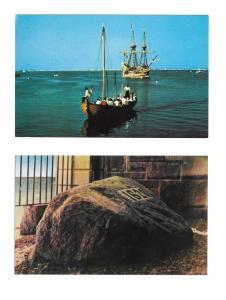 Plymouth Rock and Mayflower II Pilgrim Shaloop Boat 2 Vintage  Postcards